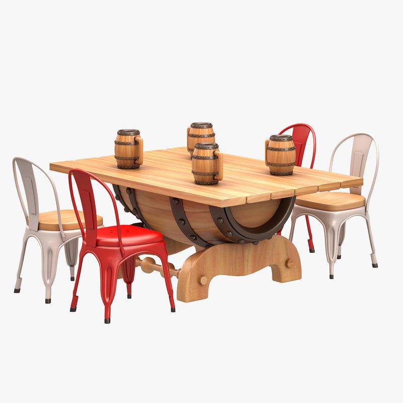 barrel dining set 3d model