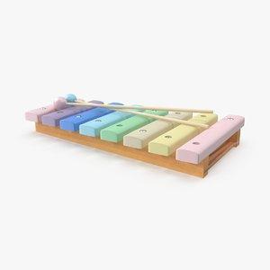 3d pastel baby wooden xylophone model
