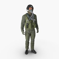 US Military Jet Fighter Pilot Pose 2