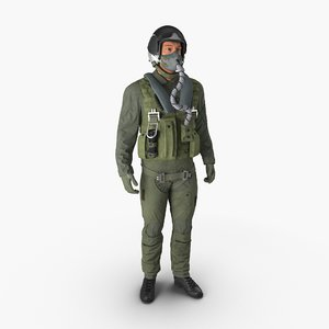 3d military jet fighter pilot model