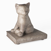 statuette cat book 3d model