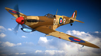 supermarine spitfire squadron aircraft 3d model