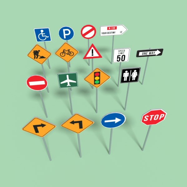 3d common signs road model