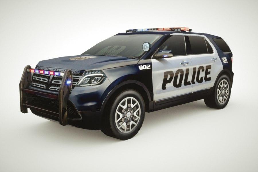 3d generic police sedan