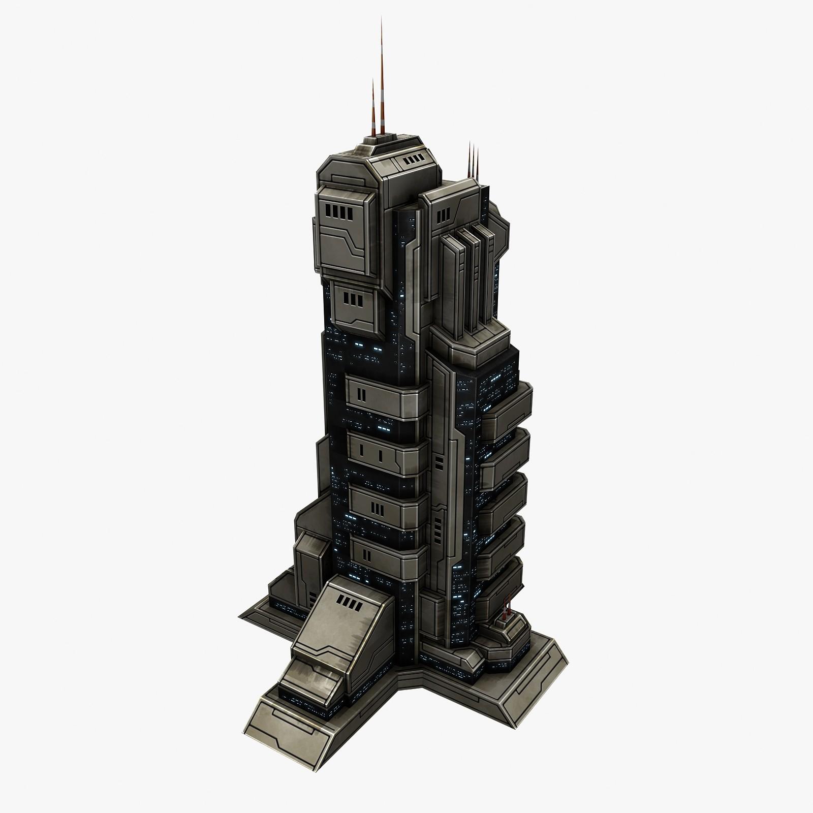 3d sci-fi city building model