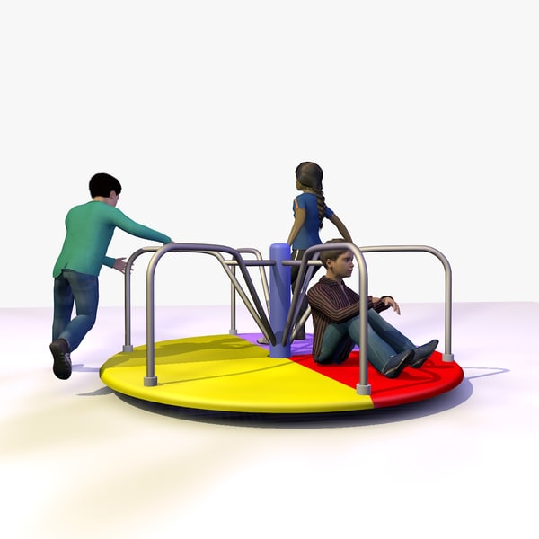 3 children playing playground 3d model