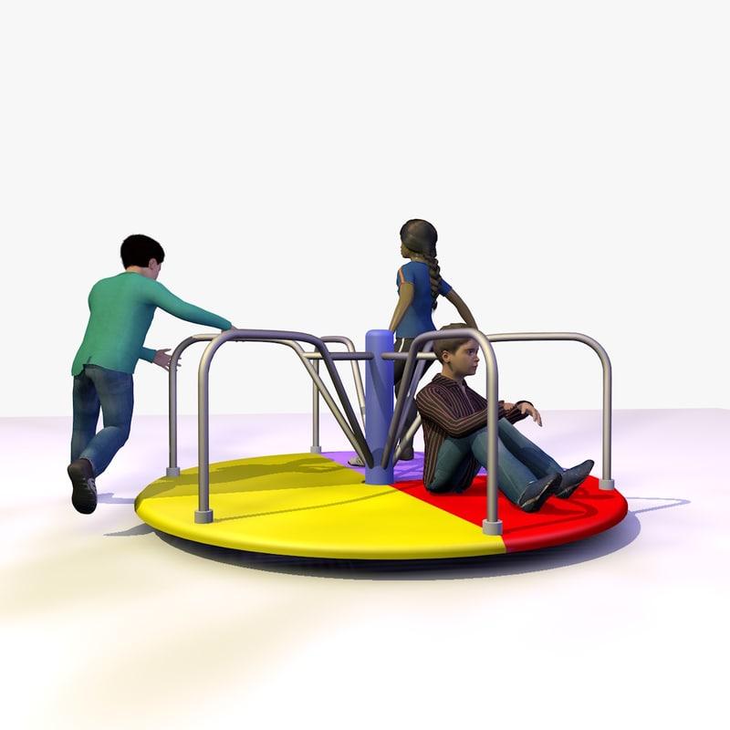 3 children playing playground 3d model