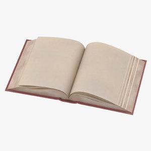3d model classic book 05 open