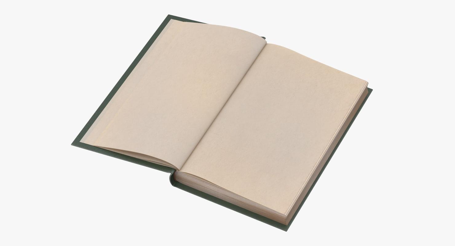3d model classic book 06 open