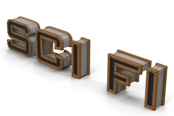 3d sci fi logo
