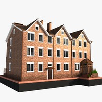 3d model house 3 story brick