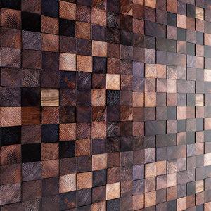 3d mosaic wood panel model