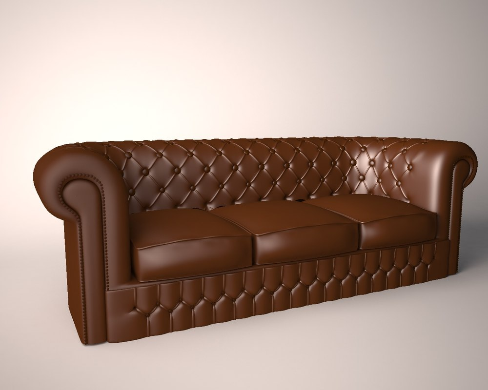 brown leather couch 3d model