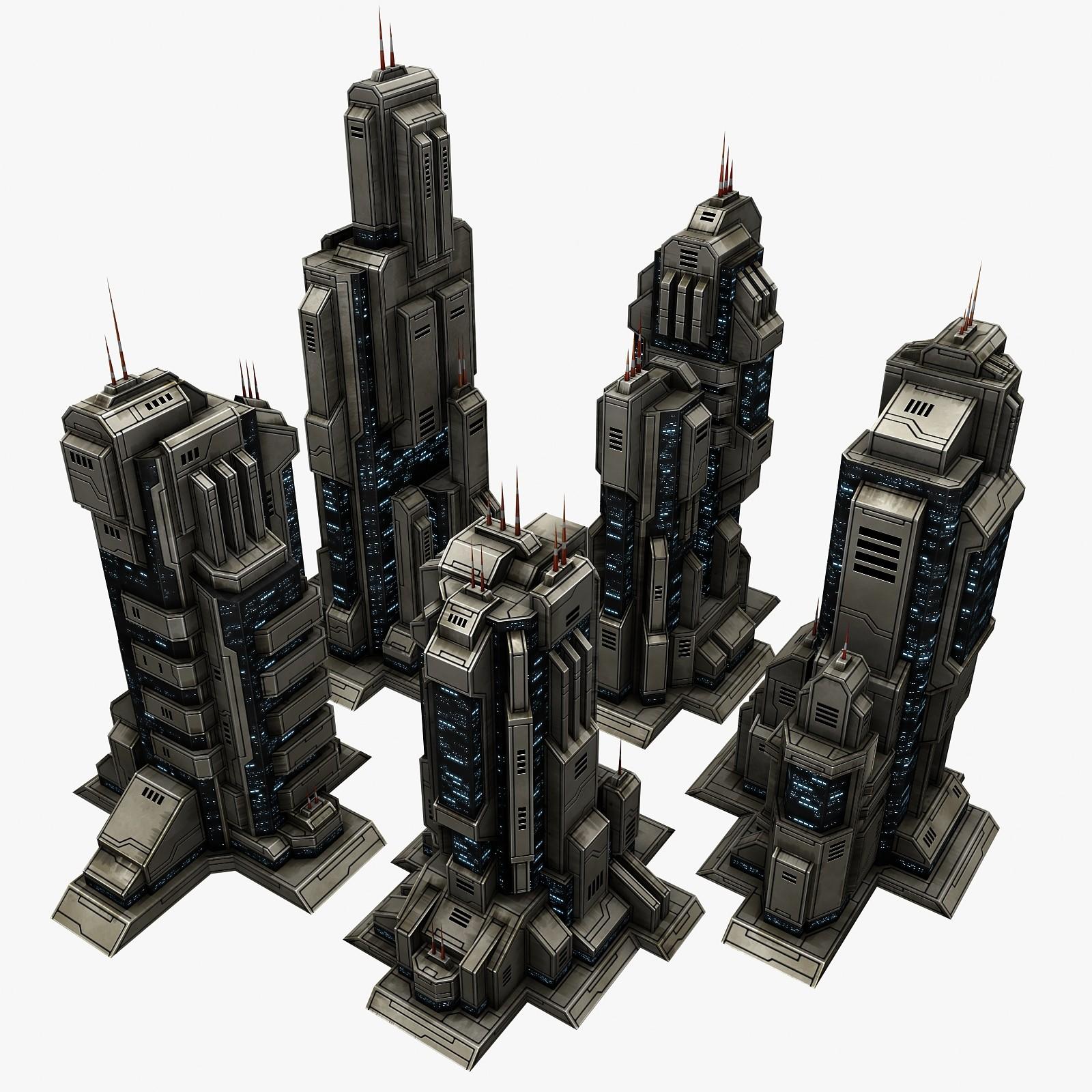 3d model sci-fi city building 5