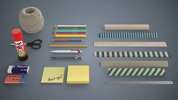 pack stationery 1 3d model