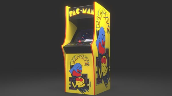 pac-man arcade cabinet 3d model