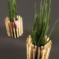 3d plant pot clothespins model