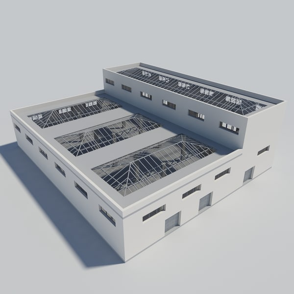industrial building interior scene obj