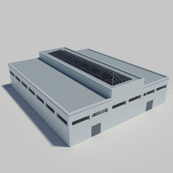 3d industrial building interior scene model