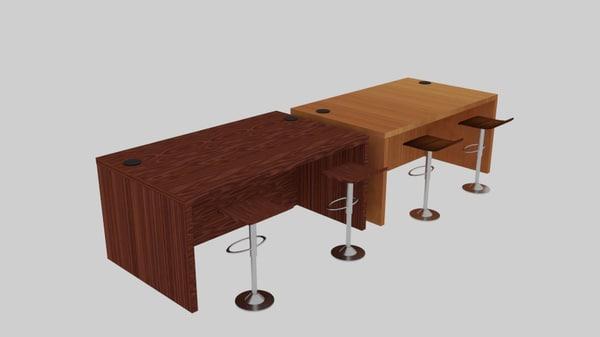 desk holeside set 3d obj