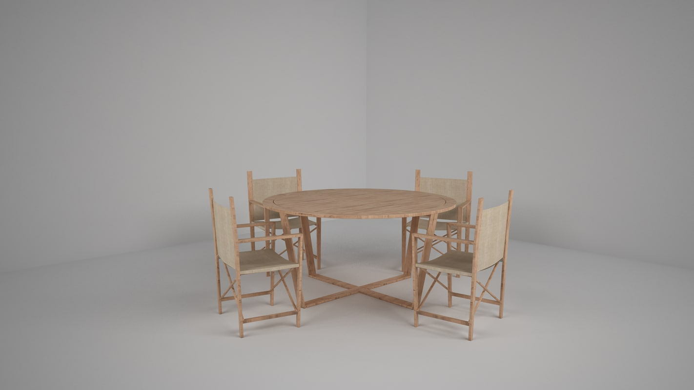 nice table chairs 3d model