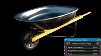 3d photo-realistic wheelbarrow aging wheel model