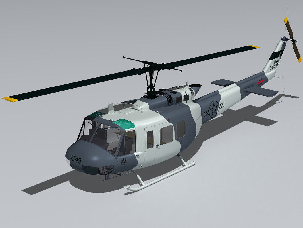 3d model bell uh-1h helicopter cockpit