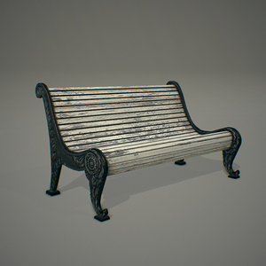 3d model old garden bench