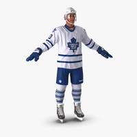3d hockey player toronto maple model