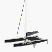 Small Sail Catamaran Black 3D Model