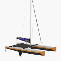 Small Sail Catamaran Generic 3D Model