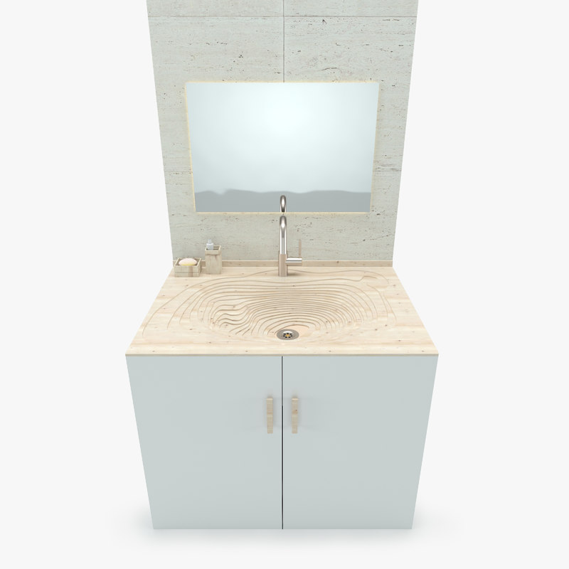 3d model bathroom wooden