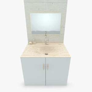 3d model bathroom wooden