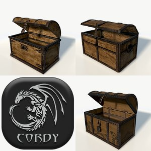 3d wooden chests package