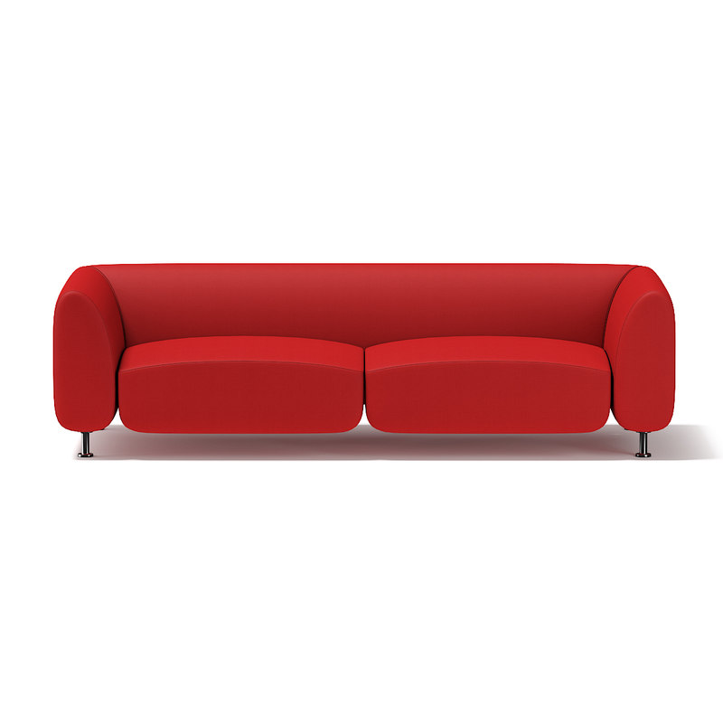 modern red sofa 3d model