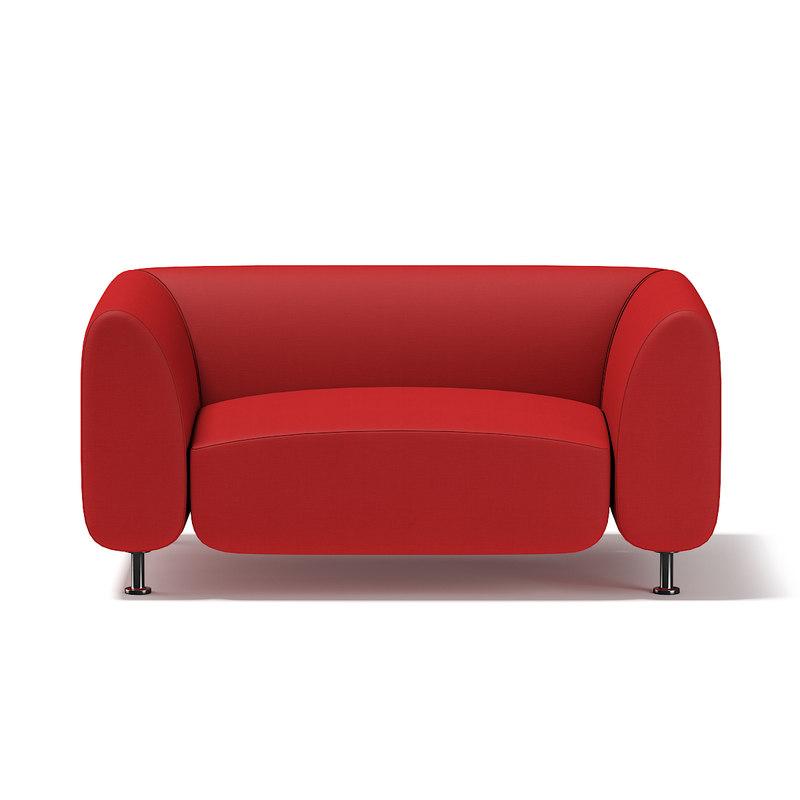 modern red armchair 3d model