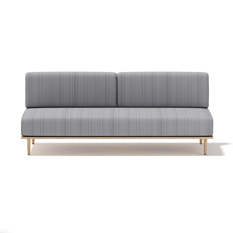 c4d grey sofa wooden frame