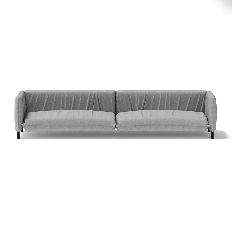 modern large grey sofa 3d model