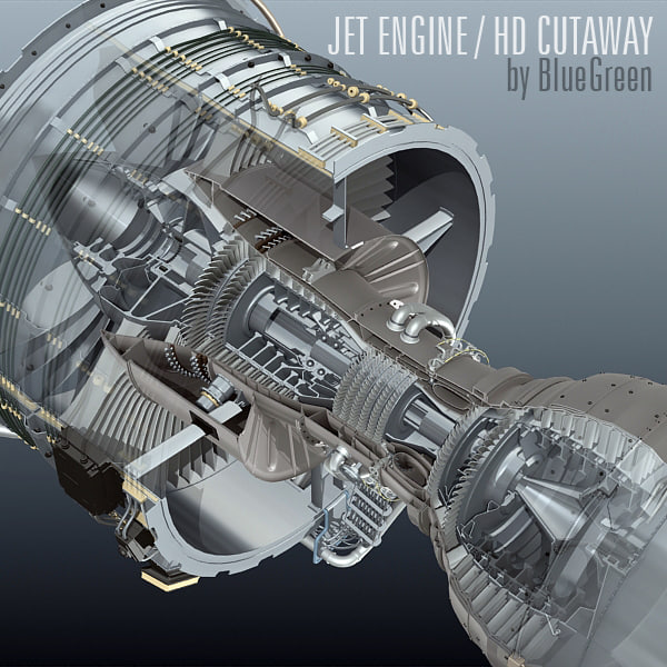 3d jet engine cutaway model