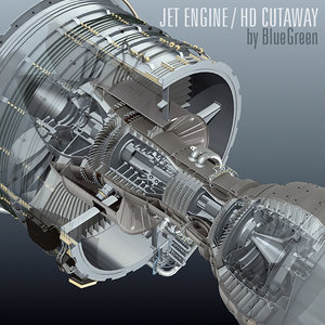 3d jet engine cutaway model