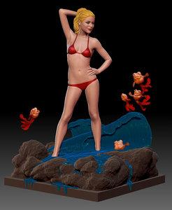 3d model decorative girl