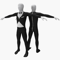 3d model morphsuit gentleman costume