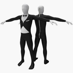 3d model morphsuit gentleman costume