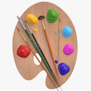 palette brushes paints max