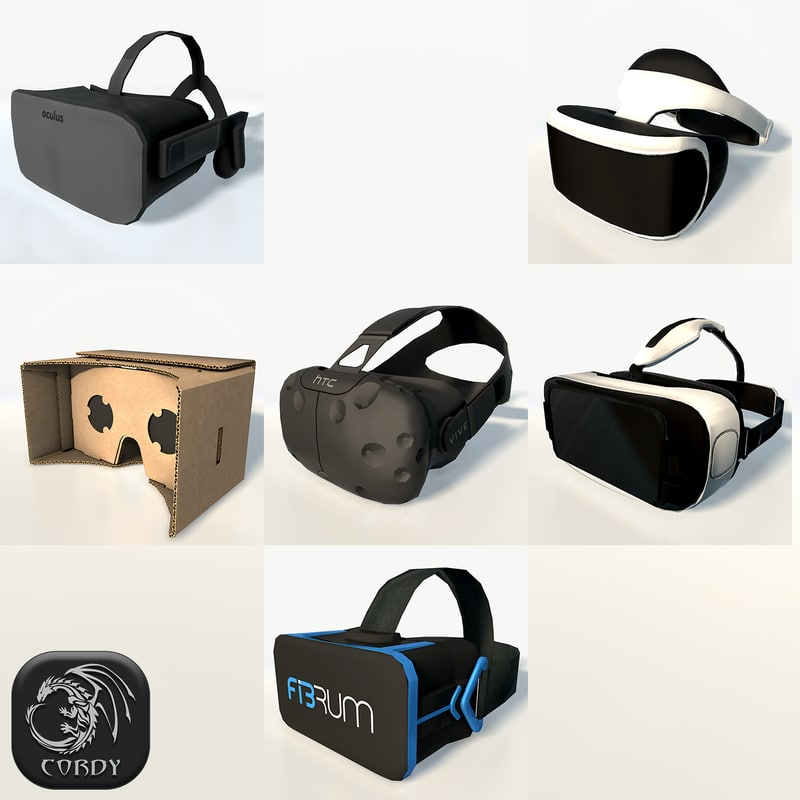 virtual headsets package vr 3d model