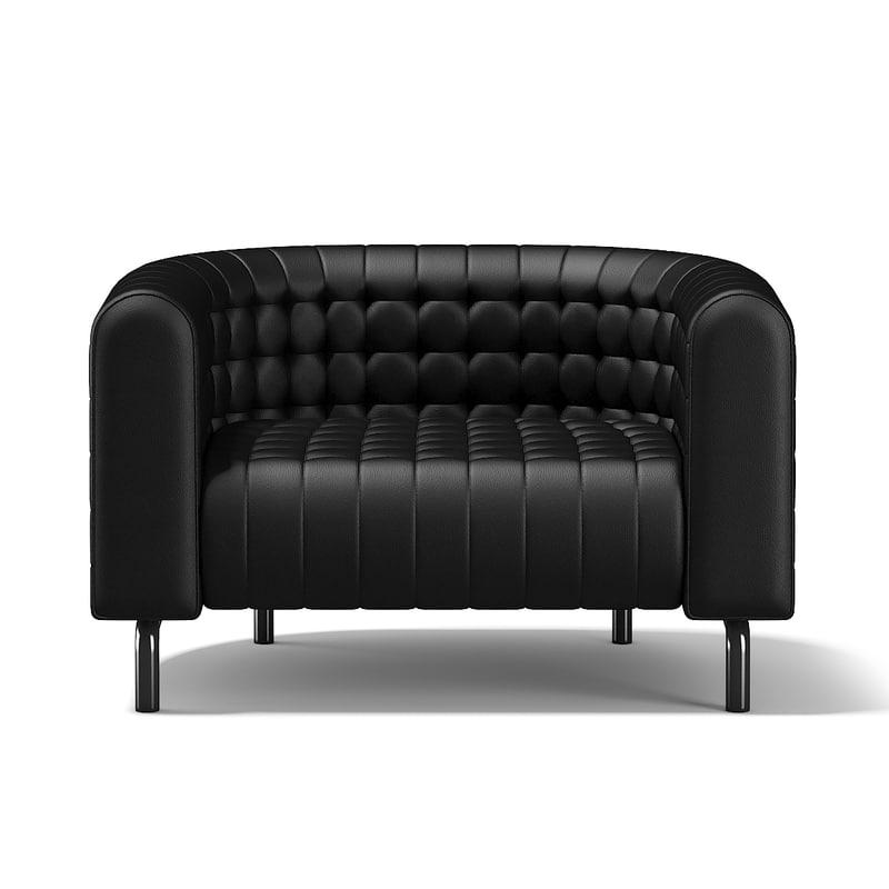 3d black leather armchair model
