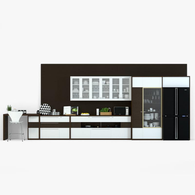 3d modern kitchen set model