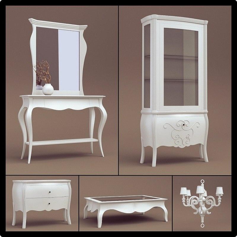 1d white interior furniture 3d model
