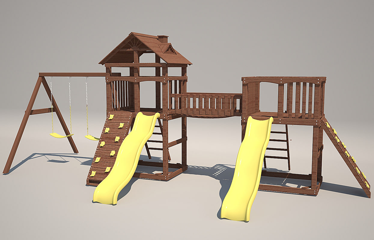 3d model playground wood