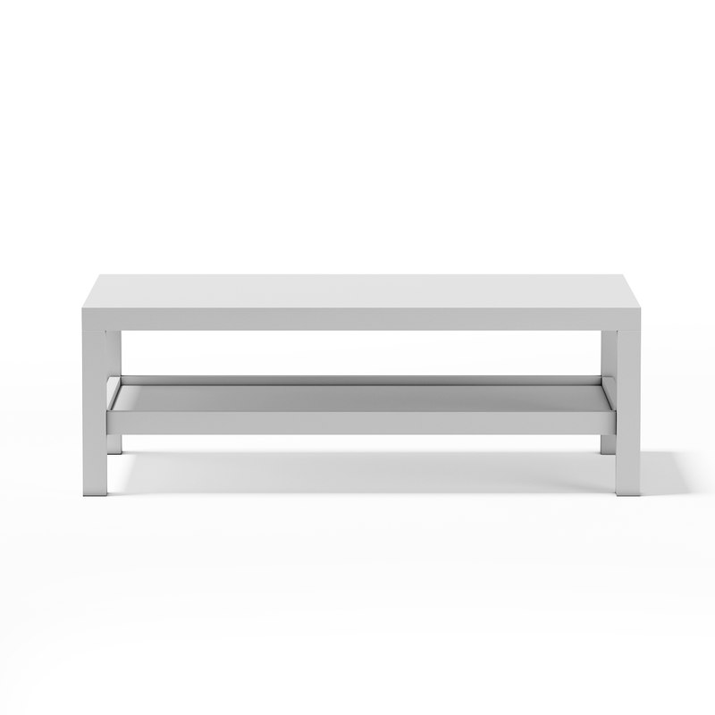 3d model of white rectangular coffee table